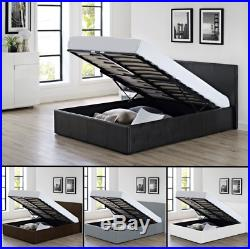 3ft 4ft 4ft6 5ft Faux Leather Ottoman Storage Gas Lift Up Bed + Memory Mattress