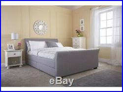 4 Drawer Grey Storage Sleigh Bed + Memory Foam Mattress, 4FT6 Double & 5FT King