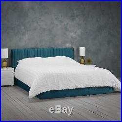4ft6 Double 5ft King Size Velvet Fabric Ottoman Storage Bed Frame Silver Or Teal