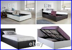 4ft Small Double Side Lift Ottoman Storage Bed 3 Colours & Optional Mattress