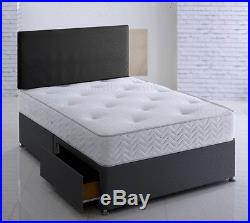 BLACK MEMORY FOAM DIVAN BED SET WITH MATTRESS AND HEADBOARD 3FT 4FT6 Double 5FT