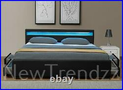 Black Leather LED Headboard Bed 4 Drawer Storage Double & King