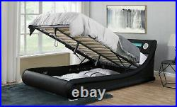 Bluetooth Music Bed Frame Storage LED Ottoman USB AUX Double King Size
