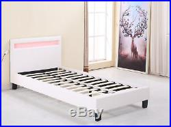 COOL Faux Leather LED COLOUR CHANGING Black White 3ft Single 4ft6 Double Bed