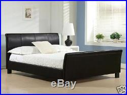 Cheap Double King Size Leather Bed Frame Sleigh Bed With Memory Foam Mattress