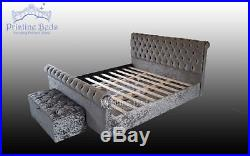 Chesterfield Sleigh Bed Frame with Memory Foam Mattress excluding Ottoman Box