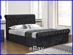 Crushed Velvet Chesterfield Sleigh Ottoman Storage Bed, 4ft6 Double & 5ft King
