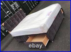 Crushed Velvet Divan Bed With / Without Diamante Headboard And Mattress Options