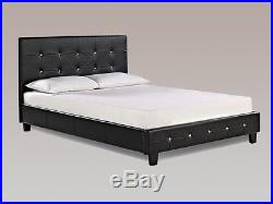 Diamante Bed Diamond Crystal Modern Leather Beds Single Double King Size Black