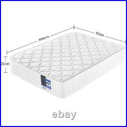 Double Bed Mattress Memory Foam Pocket Sprung Mattress with Tencel Cover White
