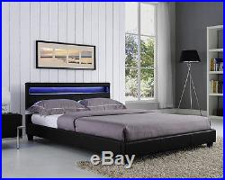 Double King Size Bed Frame LED Headboard Night Light and Mattress Stylish Design
