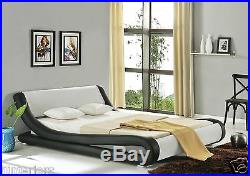 Enzo Italian Modern Designer Double Or King Size Leather Bed + Memory Mattress