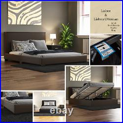 Faux Leather Bed Frame 3ft, 4ft6 Double, 5ft King Size Memory Foam Mattress
