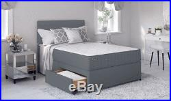 GREY FABRIC MEMORY DIVAN BED SET WITH MATTRESS HEADBOARD 3FT 4FT6 Double 5FT