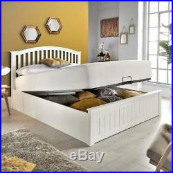 Grayson White Wooden Ottoman Bed with Size and 4 Mattress Options