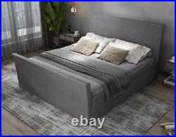 Grey Fabric 4 Drawers Storage Sleigh Bed + Memory Foam Mattress, Double + King