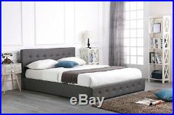 Grey Fabric 4ft 4ft6 Double 5ft Kingsize 6ft Low End Ottoman Bed Mattress Option