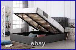 Grey Fabric Chesterfield Style Ottoman Bed Mattress Options 4ft 4ft6 5ft 6ft