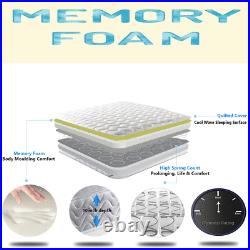 Grey Memory Foam Quilted Sprung Mattress Single 3ft, Double 4ft6, King 5ft