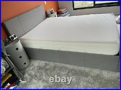 Grey linen ottoman bed & Memory Foam Mattress Double Used (bought Less 6 Mths)