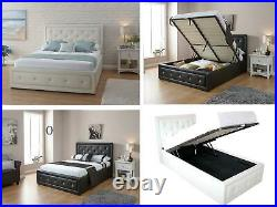 Hollywood Ottoman Storage Lift Up Bed with Crystals Single, Double, Kingsize