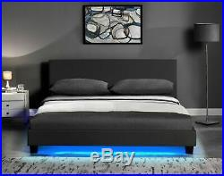 LED 4FT6 Double Black bed LED lights footboard With Mattress options