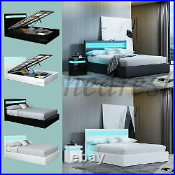 LED Bed Frame Gas Lift Up Ottoman Storage Bed Faux Leather With Mattress Option
