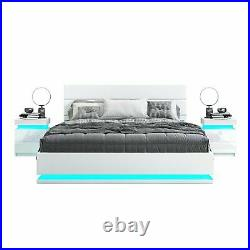 LED Light Ottoman Bed Frame Gas Lift Up Storage Double Spring or Foam Mattress