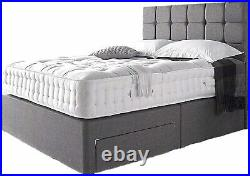 Linen Look Grey Divan Bed with Mattress, Storage and Free Headboard -4FT6 Double