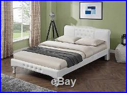 Luxury Modern Designer White / Black Faux Leather Bed Frame Double King Size