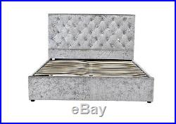 Luxury Silver Crushed Velvet Ottoman Bed Frame Under Storage Double King Size