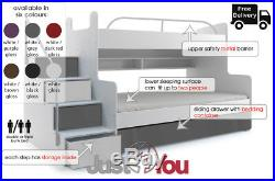 Modern Kids Youth Double Or Triple Bunk Bed Storage Drawer Mattresses Boy Girl