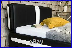 Modern Leather Double Or King Size Bed Black & White + Memory Foam Mattress Beds