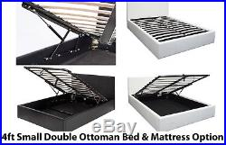 NEW Boston 4ft Small Double Leather Storage Gas Lift Up Bed with Mattress Option