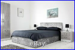 NEW Crushed Velvet Boston 3ft 4ft6 Single Double Ottoman Gas Lift Up Storage Bed