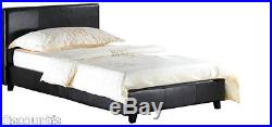 NEW Faux Leather Low Frame Bed With Choice Of Mattress Size And Colour Option