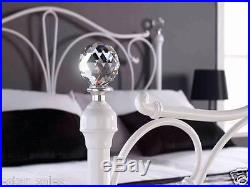 NEW QUALITY 4ft6 DOUBLE METAL BED WITH CRYSTAL FINIALS + MEMORY FOAM MATTRESS