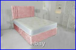 New Crushed Velvet Divan Bed With Mattress And Free 20 Headboard