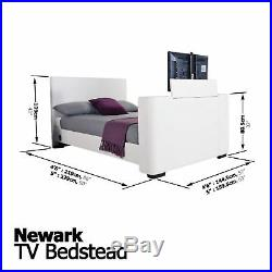 Newark Electric Tv Bed Up To 32 Faux Leather Push Button System 4ft6 5ft White
