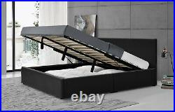 Ottoman Storage Gas Lift Leather Bed + Memory Foam Mattress 3ft 4ft6 Double 5ft