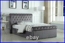 Plush Velvet Grey Ottoman Bed Frame With Mattress. Lift Up Storage Bed