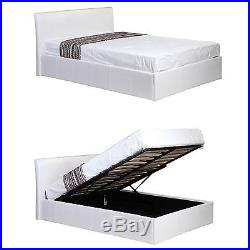 Siesta Ottoman Storage Lift Up Bed White Faux Leather 3ft, 4ft, 4ft6 and 5ft