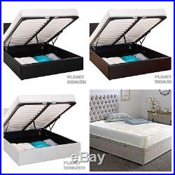 Storage Ottoman Gas Lift Leather Beds Bed Frame With Memory Foam Mattress Deal