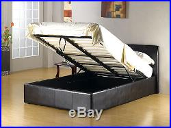 Storage Ottoman Sleigh Leather Bed Mattress Bundle Deal Black Brown Double King