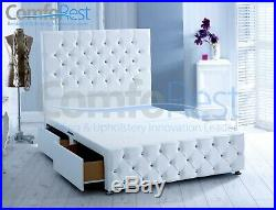 White Leather Divan Chesterfield Bed, 54 Height Headboard, Made In Uk