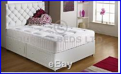 White Quilted Memory Foam Bed Divan Mattress Headboard 6ft 5ft 4ft6 Double