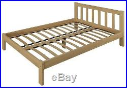White Wooden Bed Frame 4ft Small Double 120x190 Solid Pine Wood Slatted Mattress