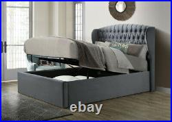 Winchester Grey Velvet Fabric Ottoman Storage Bed Size and Mattress Options