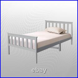 Wooden Bed Frame Solid Pine Wood in Grey/White All Sizes with Mattress Option